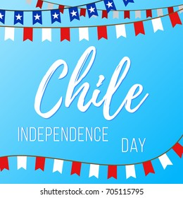 Independence Day in Chile. Vector illustration with inscription and garlands with flags on a blue background
