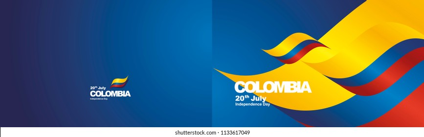 Independence Day Colombia flag ribbon two fold landscape background