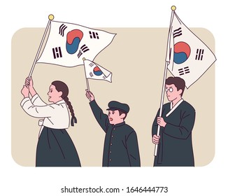 Independence Day commemorative illustration. People in history wearing traditional Korean costumes hold the Korean flag in their hands. hand drawn style vector design illustrations.