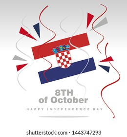 Independence Day Croatia flag with confetti 8th of October isolated on white background