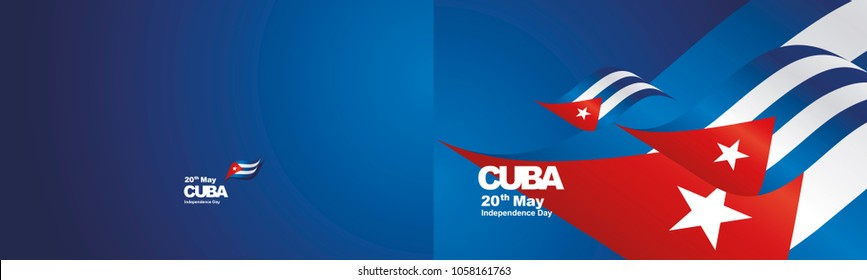 Independence Day Cuba flag ribbon two fold landscape background greeting card