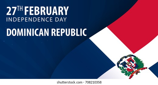 Independence day of Dominican Republic. Flag and Patriotic Banner