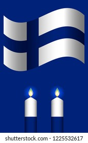 Independence Day of Finland. The concept of a national holiday. Flag of Finland. 2 white and blue candles