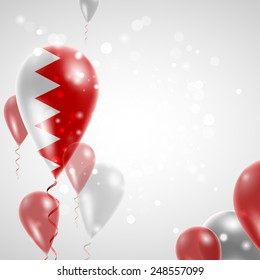 Independence Day. Flag of Bahrain on air balloon. Celebration and gifts. Balloons on the feast of the national.  Use for brochures, printed materials, signs, elements