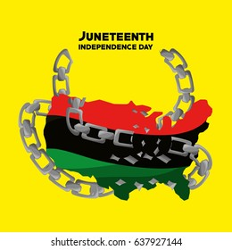 independence day flag with chain to juneteenth