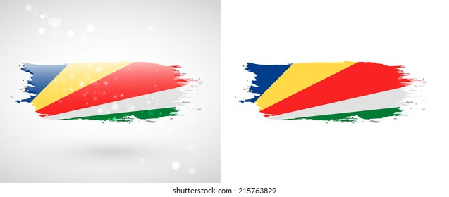 Independence Day. Flag painted with a brush with paint. Grungy flag. Grungy style. Brushstroke. Use for brochures, printed materials, icons, logos, signs,  elements, etc. Flag of Seychelles