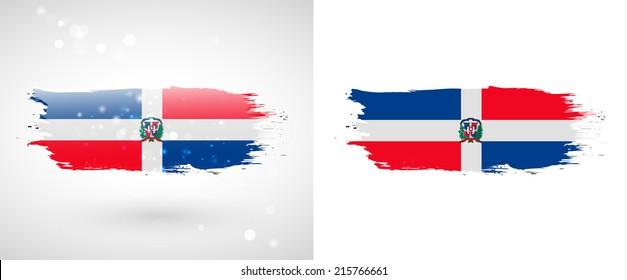 Independence Day. Flag painted with a brush with paint. Grungy flag. Grungy style. Brushstroke. Use for brochures, printed materials, icons, logos, signs,  elements, etc. Flag of Dominican Republic