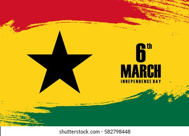 Independence Day of Ghana 6th march greeting card with brush stroke background in national colors. Vector illustration.