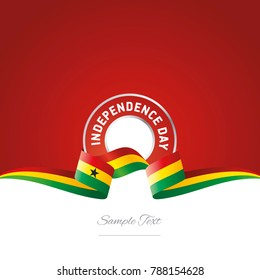 Independence Day Ghana flag ribbon color label logo icon