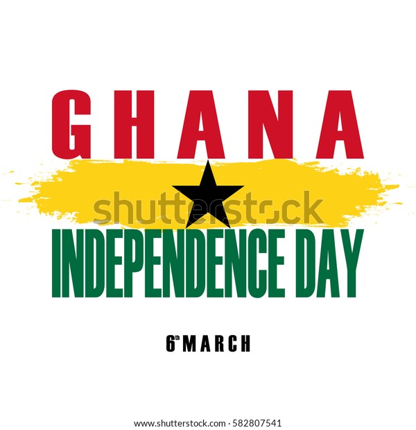 Independence Day of Ghana greeting card with brush stroke element. Vector illustration.