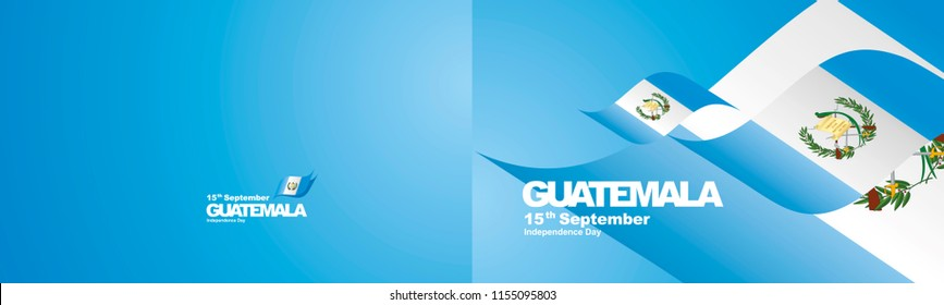 Independence Day Guatemala flag ribbon two fold landscape background