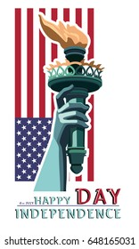 Independence Day. The hand torch. Statue of Liberty. During the holiday, the Day of the US flag. July 4 Flat banner. 3D font letters. red and green color illustration on a white background.vector