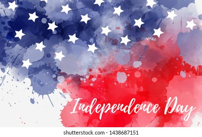 Independence day holiday in United States of America. Abstract watercolor background with stars in colors of USA flag.