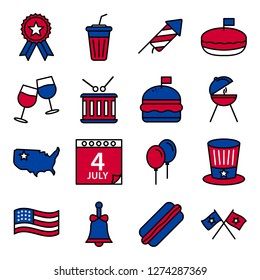 Independence day icons pack. Isolated independence day symbols collection. Graphic icons element