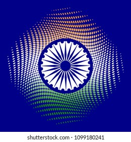 Independence Day of India. 15 August. The colors of the flag are green, white, saffron. Blue wheel with 24 spokes. Blue background