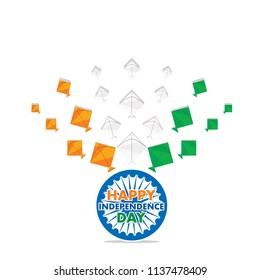 independence day of india, 15th of august greeting design with kite