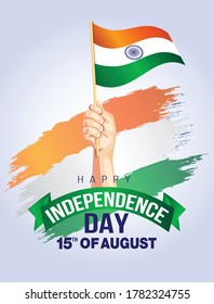 Independence Day India. men's hand holding indian flag. Greeting banner with lettering of Happy Independence Day. 15th August