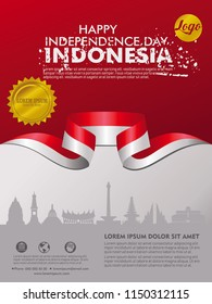 Independence Day Indonesia background template for a poster,leaflet, brochure and cover book