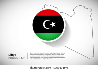 Independence day of Libya. Creative national country flag of Libya with outline map. Abstract greeting card or banner vector illustration