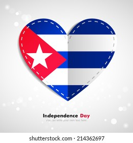 Independence Day. Love of country. In the form of a paper heart. Use for brochures, printed materials, logos, signs... National. Valentine. Vector Icon. Image. Picture. Flag of Cuba