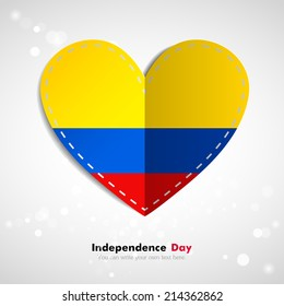 Independence Day. Love of country. In the form of a paper heart. Use for brochures, printed materials, logos, signs... National. Valentine. Vector Icon. Image. Picture. Flag of Colombia