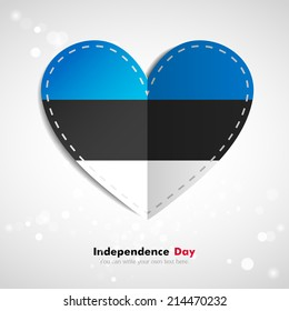 Independence Day. Love of country. In the form of a paper heart. Use for brochures, printed materials, logos, signs... National. Valentine. Vector Icon. Image. Picture.  Flag of Estonia
