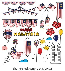 Independence day of Malaysia design element in doodle style