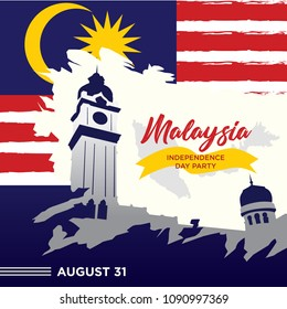Independence Day Malaysia With Iconic Place