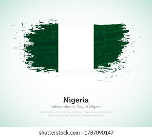 Independence day of Nigeria country. Abstract flag in shape of paint brush stroke with shiny colored background