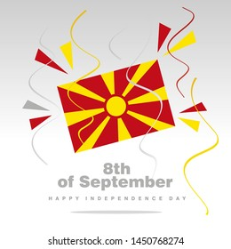 Independence Day North Macedonia flag with confetti 8th of September isolated on white background