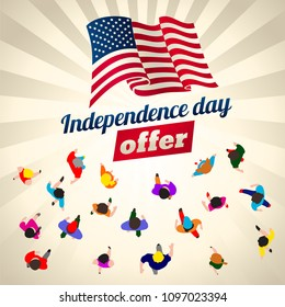 Independence day offer. Top view people on sale event. Banner for retail promotions. Vector illustration.