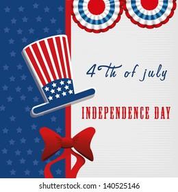 independence day over flag background vector illustration