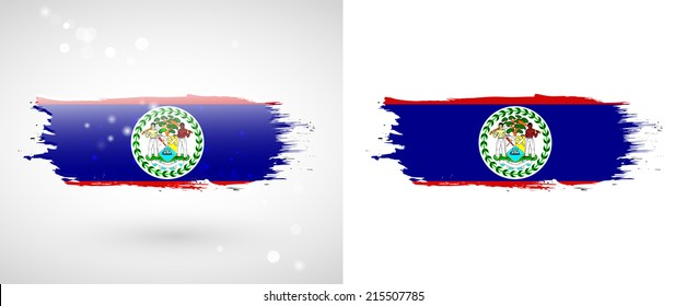 Independence Day. Painted with a brush with paint. Grungy style. Brushstroke. Use for brochures, printed materials, logos. Stock vector. Icon. Image. Picture. National. Standard. Flag of Belize