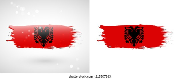 Independence Day. Painted with a brush with paint. Grungy style. Brushstroke. Use for brochures, printed materials, logos. Stock vector. Icon. Image. Picture. National. Standard. . flag of Albania