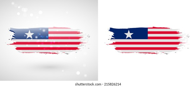 Independence Day. Painted with a brush with paint. Grungy style. Brushstroke. Use for brochures, printed materials, logos. Stock vector. Icon. Image. Picture. National. Standard. Flag of Liberia