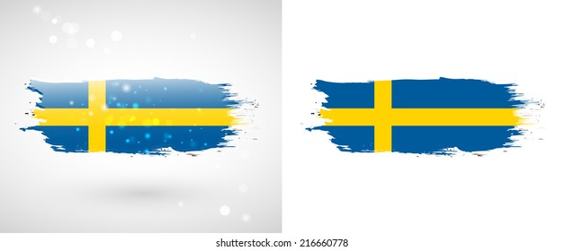 Independence Day. Painted with a brush with paint. Grungy style. Brushstroke. Use for brochures, printed materials, logos. Stock vector. Icon. Image. Picture. National.  Sweden flag
