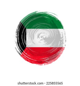 Independence Day painted with a brush with paint. Grungy style. Brushstroke. Use for brochures, printed materials, icons, logos, signs,  elements. Flag of Kuwait
