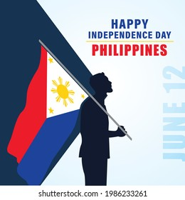 Independence Day (Philippines). Philippines flag with man