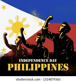 Independence day the Philippines, Illustration of people raising fists on flag of the Philippines. Vector Illustration