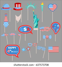 Independence Day Photo Booth Props, Flags, Masks, Hats, Glasses, Statue of Liberty set. Fourth of July United States Independence Day requisite collection. Isolated. Vector