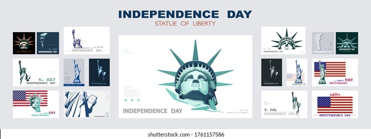 Independence day portrait Statue of Liberty, poster presentation. Set of green flat design templates. USA flag Holiday.