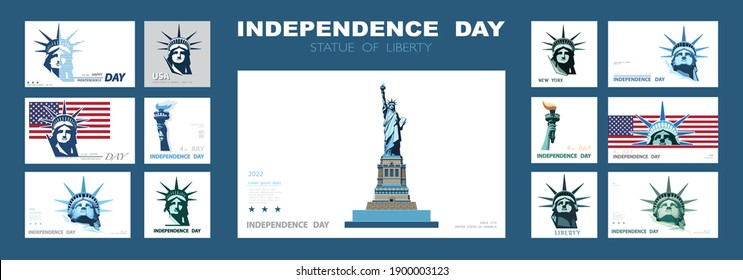 Independence day portrait Statue of Liberty, poster presentation. Set of blue flat design templates. USA flag Holiday. The national symbol of America New York, banner. Name of advertising text, vector