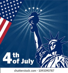 Independence Day. Poster. The Statue of Liberty. Patriotism. 4th of July. democracy. inscription