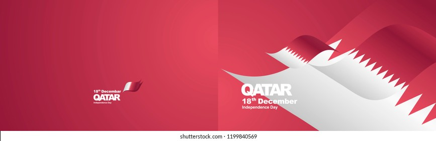 Independence Day Qatar flag ribbon two fold landscape background