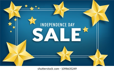 Independence Day sale vector banner with gold stars.