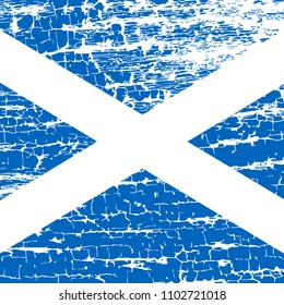 Independence Day of Scotland. 24 June. Concept of a national holiday. Symbolic Flag of Scotland. White cross on blue. Grunge cracks background