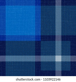 Independence Day of Scotland. 24 June. Concept of a national holiday. Scottish blue tartan. Checkered woolen fabric, with national pattern, kilt