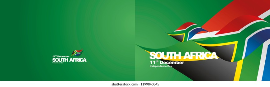Independence Day South Africa flag ribbon two fold landscape background
