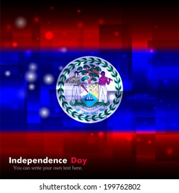 Independence Day. Techno. Abstract. Glowing. Used as an background, card, greeting, printed materials.  Flag of Belize