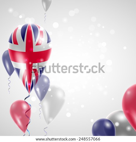UK flag on air balloon. Celebration and gifts. Balloons on the